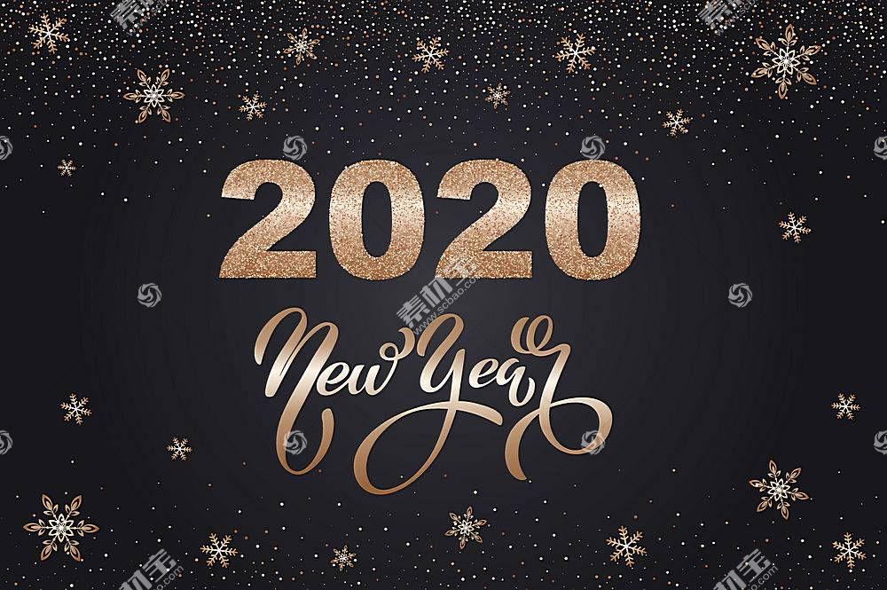 创意金色雪花2020鼠年素材