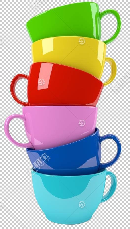 4图片1字咖啡浓缩咖啡杯,彩虹杯PNG剪贴画材料,封装的PostScript,图片