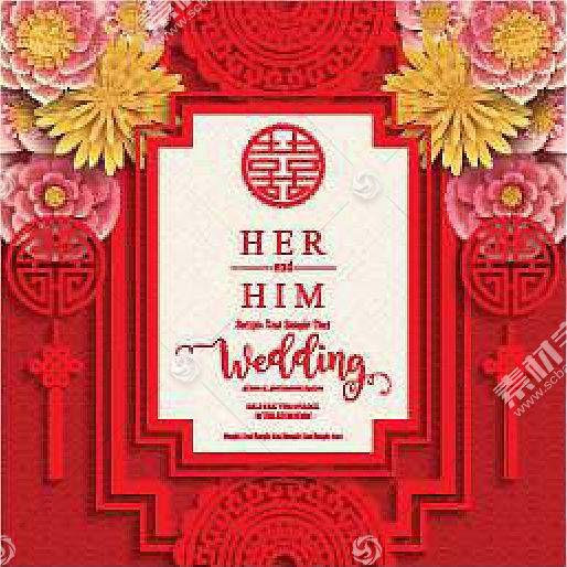 中国风红色喜庆婚庆婚礼装饰背景