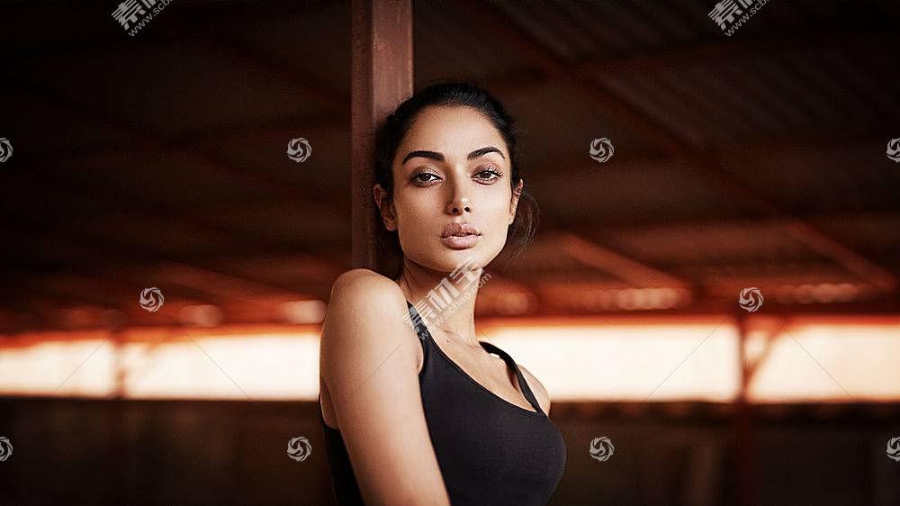 女人,情绪,女孩,凝视,印度的,东方的,脸,黑发女人,棕色,眼睛,模特