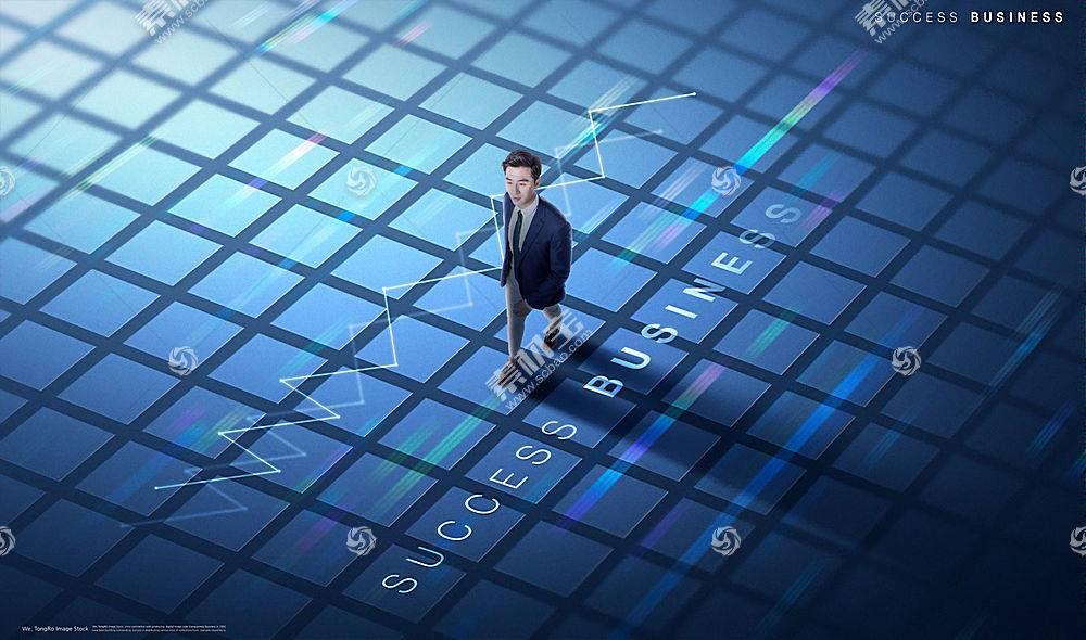现代商务男士科技风简约海报展板设计
