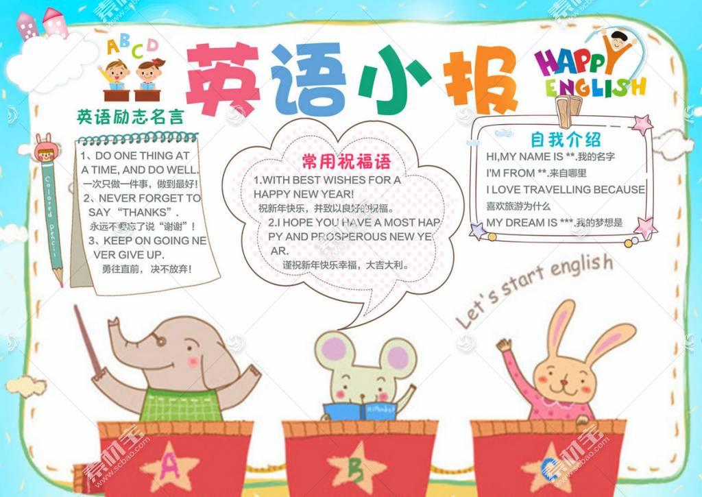 英语小报创意英语学习卡通手抄小报
