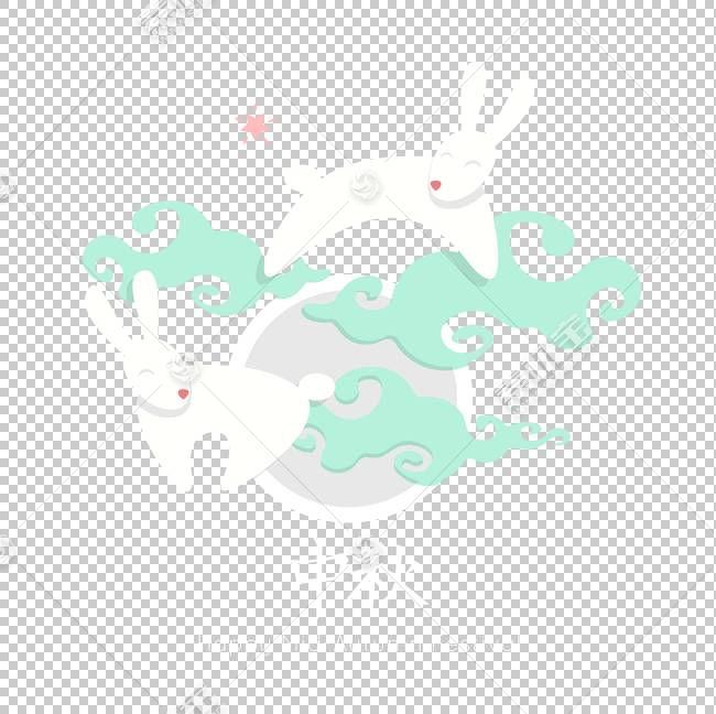 中兔材料PNG剪贴画蓝色,白色,文本,云,节日元素,蓝绿色,电脑壁纸,