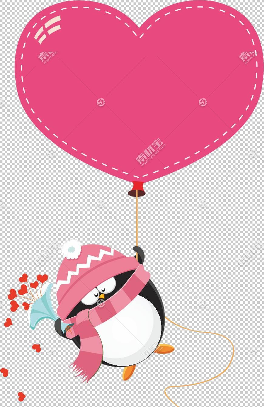 企鹅爱股票例证情人节,企鹅PNG clipart摄影,节日元素,心,气球,心