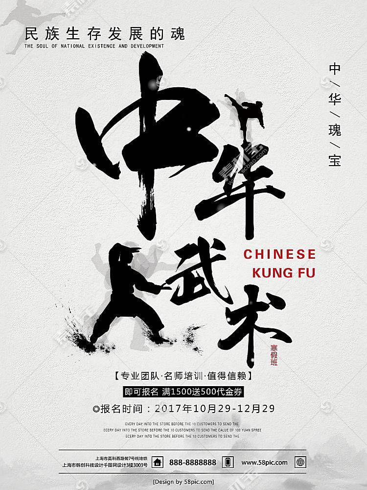 中式水墨风中华武术培训海报