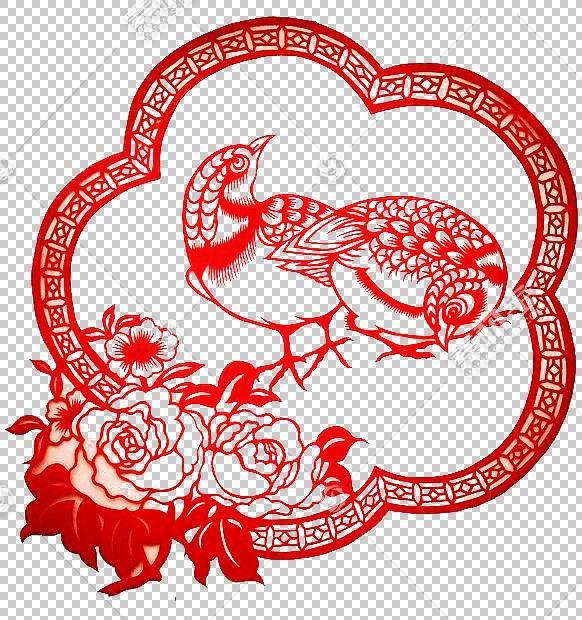 鸟剪纸PNG剪贴画爱,文本,节日元素,心,海报,花卉,虚构的字符,材料