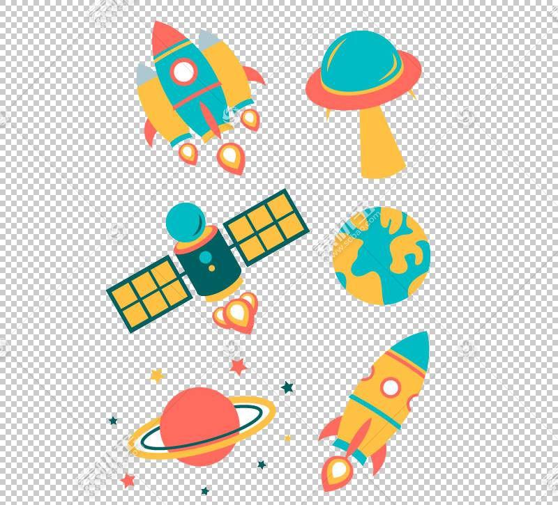 航天器欧几里德剪影飞碟,空间元素PNG剪贴画生日快乐矢量图像,外