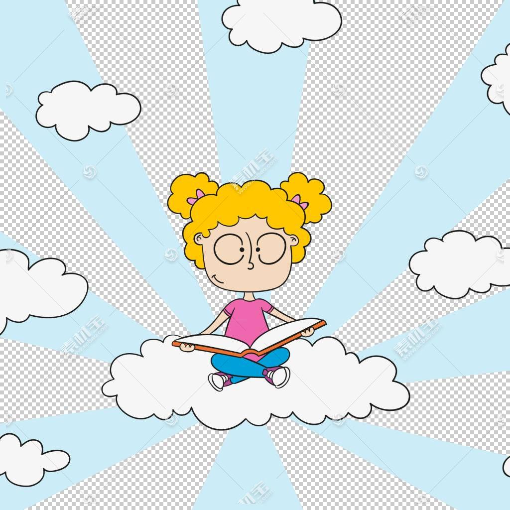 欧几里德云插图,女孩坐在云上阅读PNG剪贴画爱,哺乳动物,儿童,时图片