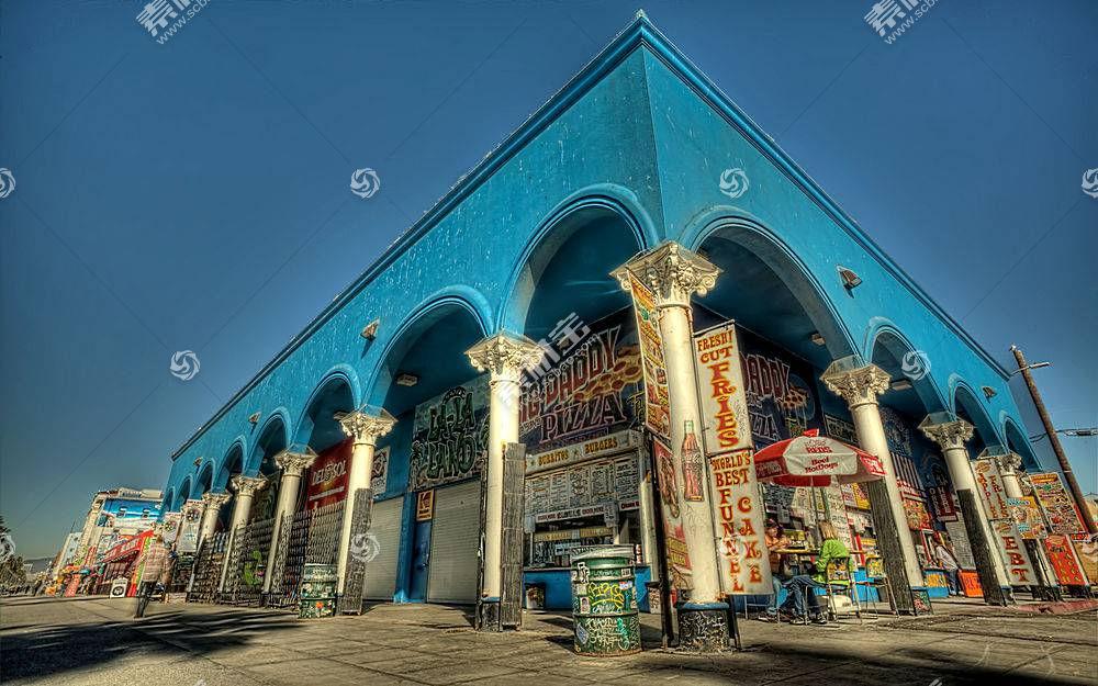 建筑物,建筑物,直接热轧制,拱门,富有色彩的,蓝色,天空,加利