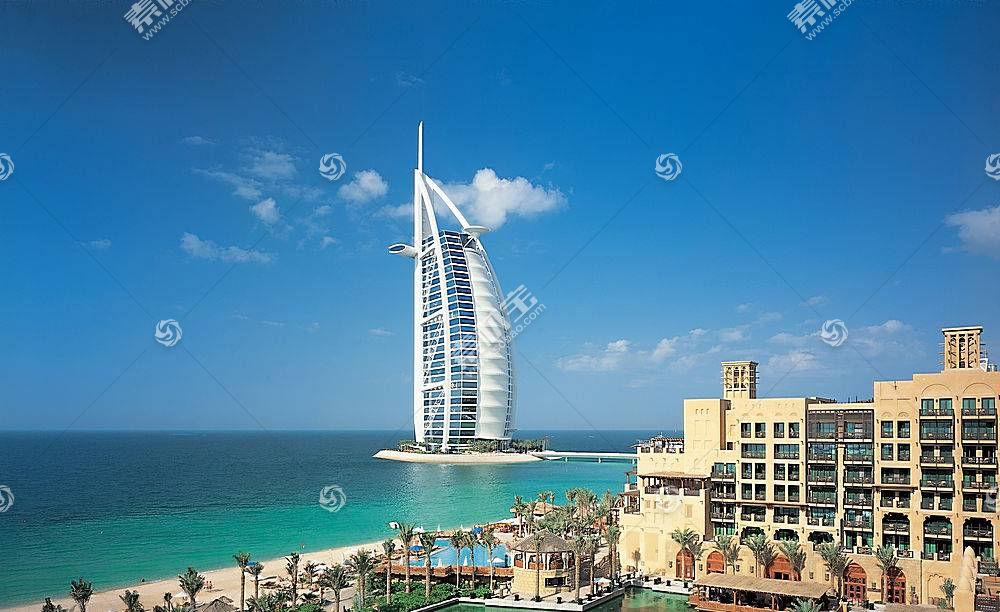 建筑物,建筑物,迪拜,Burj,Al,阿拉伯人,天空,海,一致的,阿拉