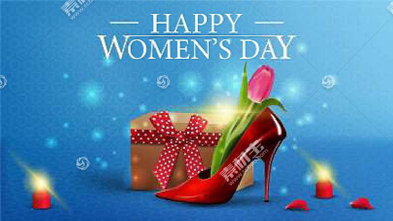 红色高跟鞋妇女节背景海报