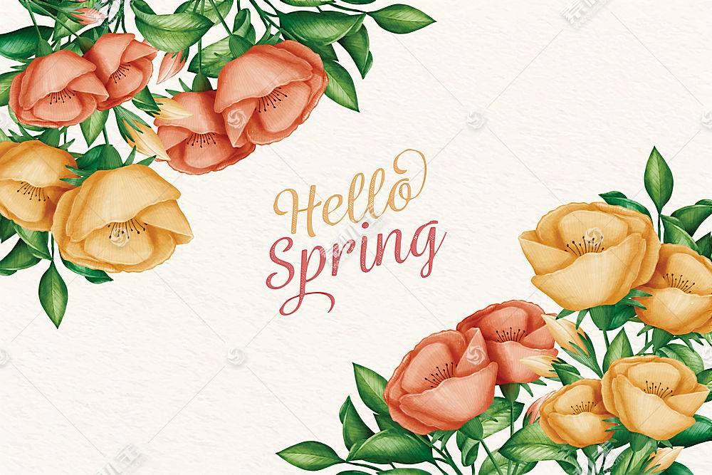 你好春天鲜花背景