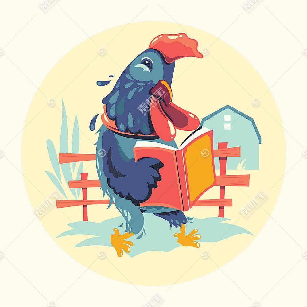 看书的公鸡卡通形象插画设计