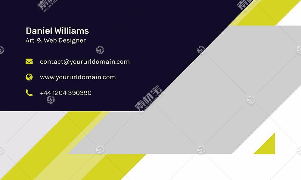 黄色创意商务通用名片卡片设计模板