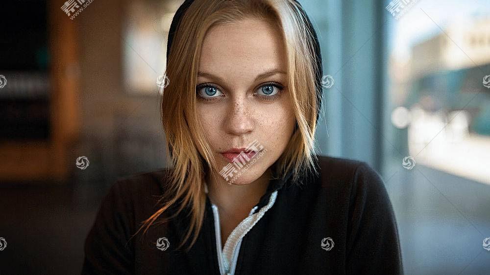 女人,模特,妇女,女孩,脸,白皙的,蓝色,眼睛,深度,关于,领域,壁纸,