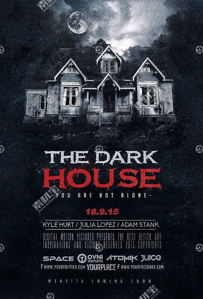 复古恐怖住宅电影风主题海报设计