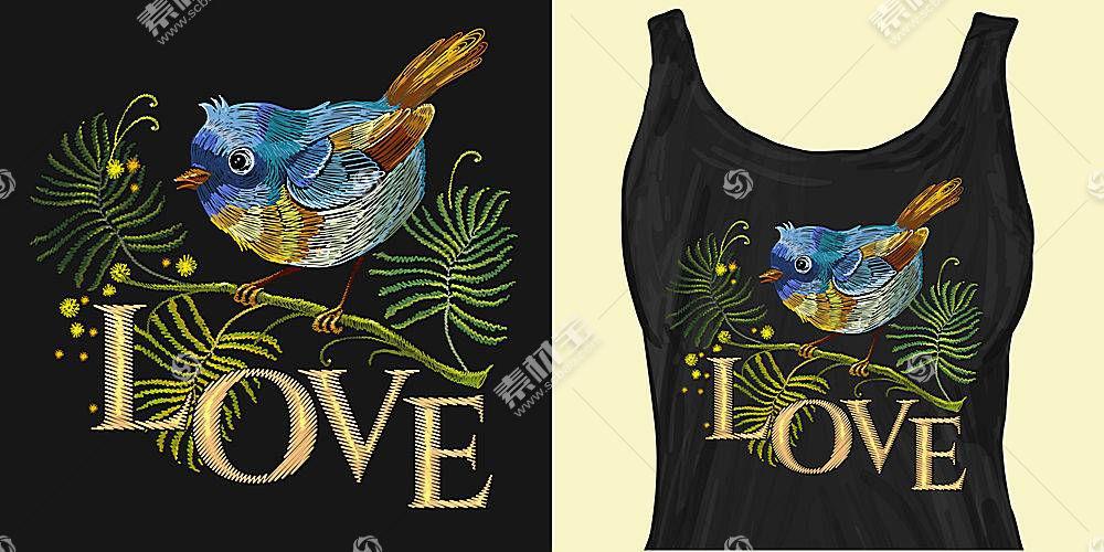 LOVE的小鸟T恤印花