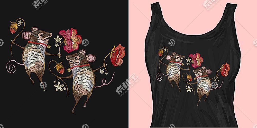 两只老鼠T恤印花图案