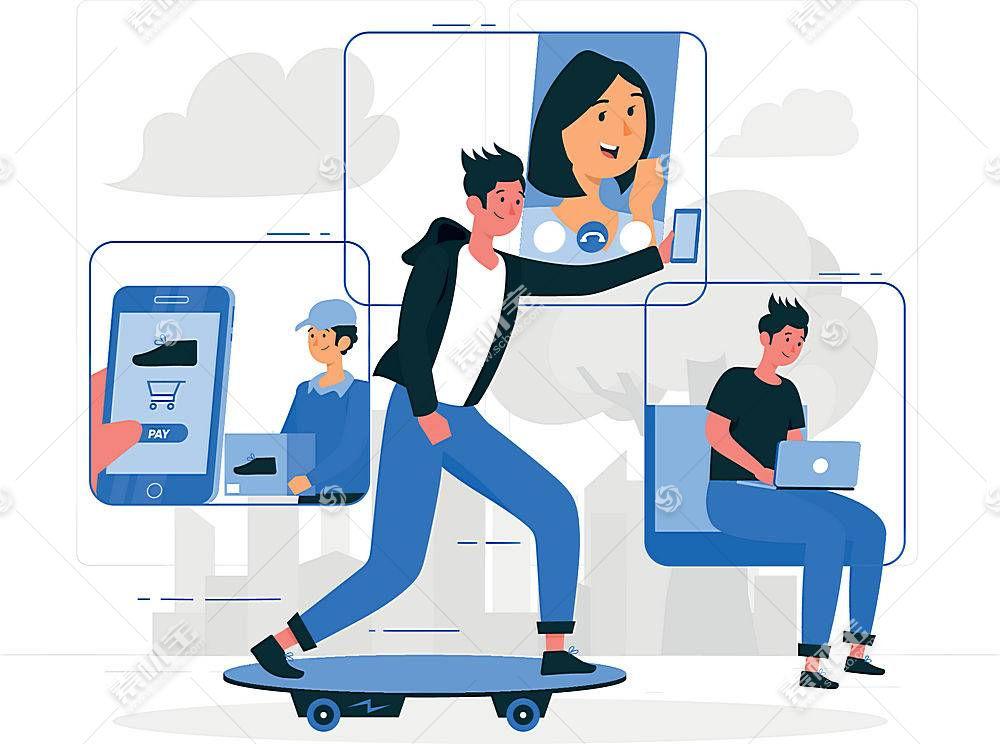 滑板青年与互联网社交主题人物插画设计
