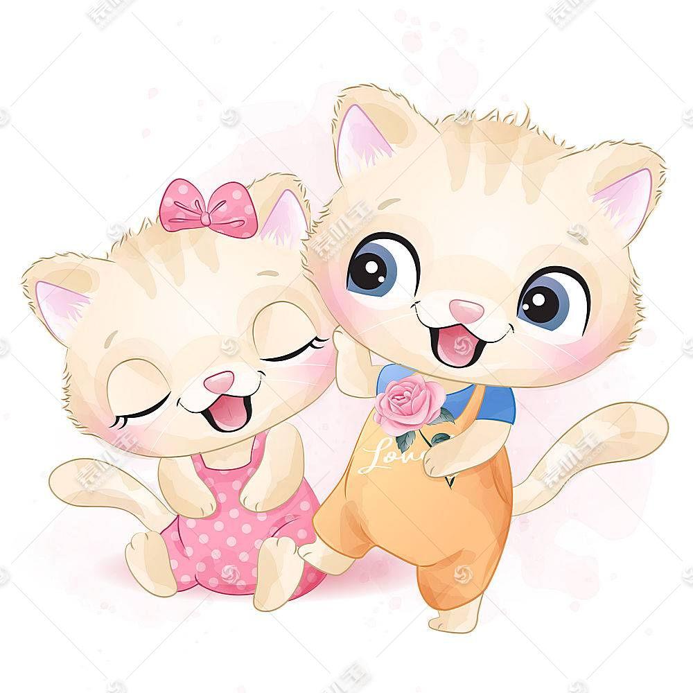 可爱猫咪形象卡通手绘插画设计