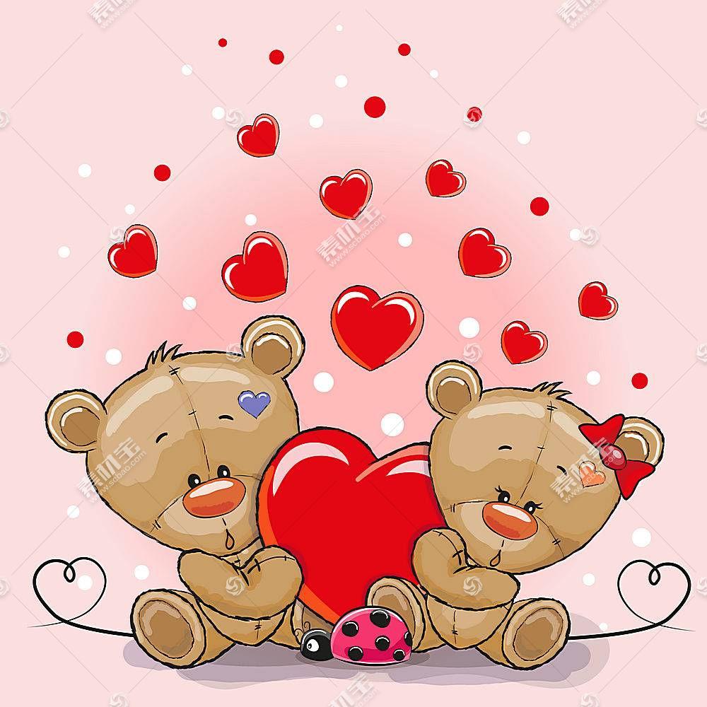 可爱小熊形象卡通手绘插画设计