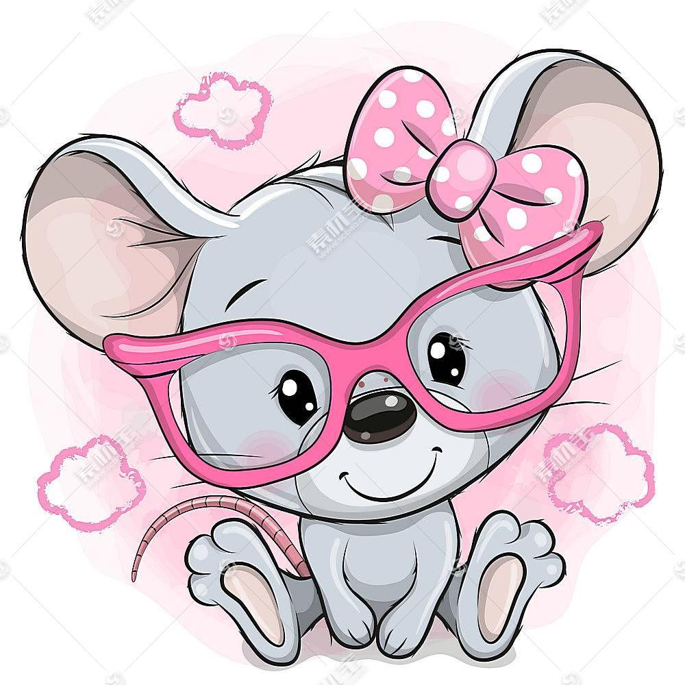 可爱老鼠形象卡通手绘插画设计