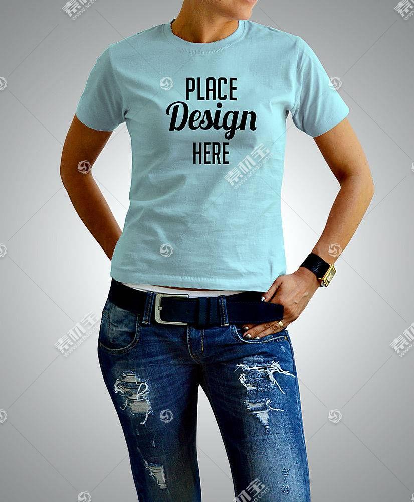 时尚女青年上衣T恤服装展示样机