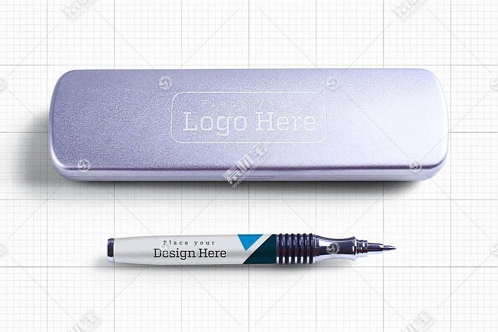 钢笔和钢笔盒子样机
