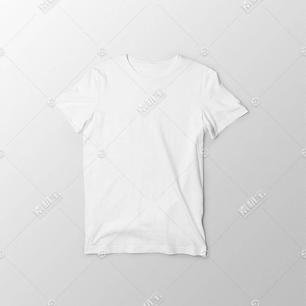 平铺的白色T恤服饰样机