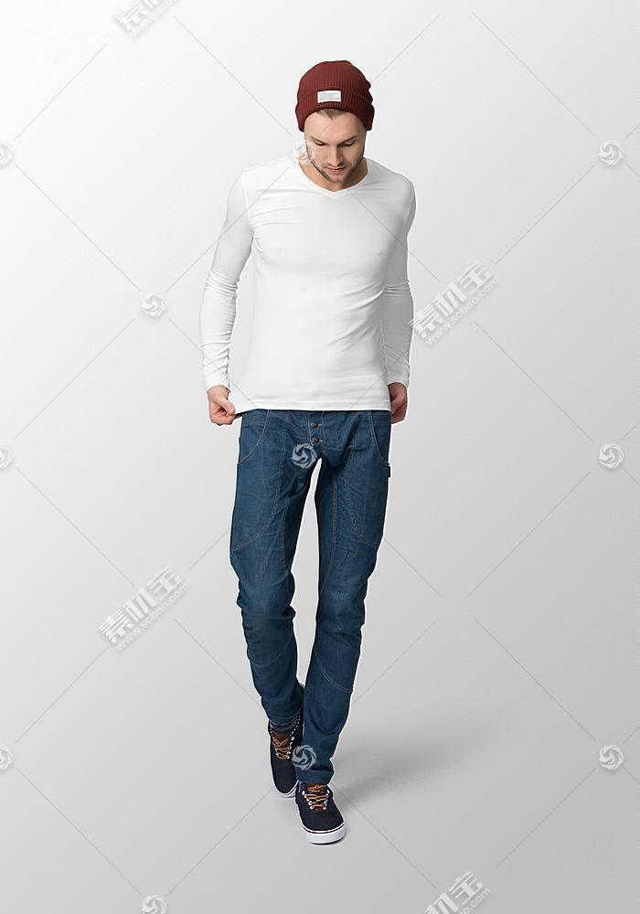 时尚年轻外国男模特服装长袖展示智能样机素材