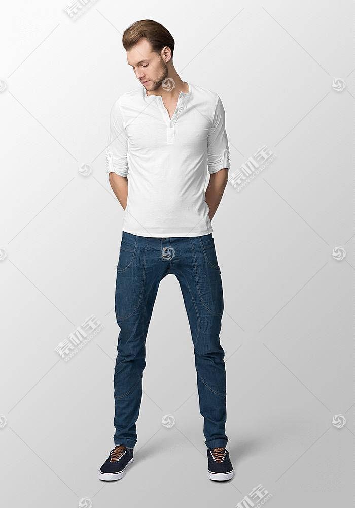 时尚年轻外国男模特服装衬衫展示智能样机素材