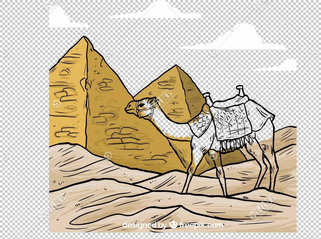 埃及金字塔像哺乳动物一样的骆驼,骆驼般的哺乳动物,动画片,沙漠,