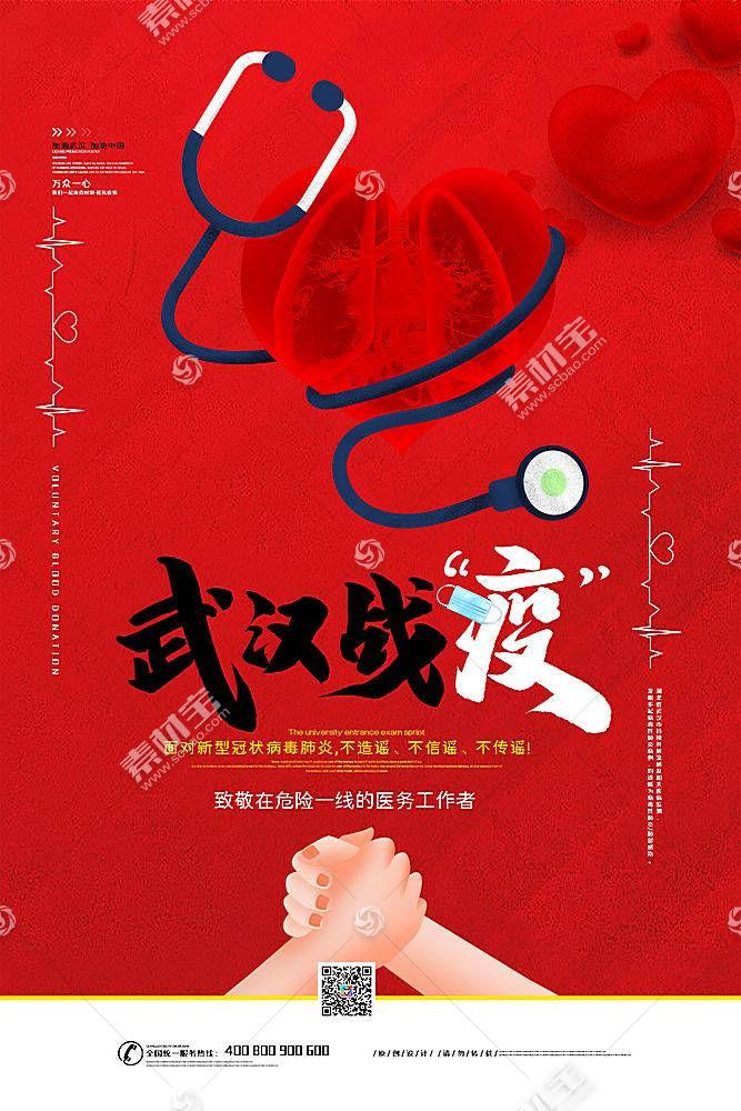 创意简约武汉加油抗击新型冠状病毒宣传海报广告素材