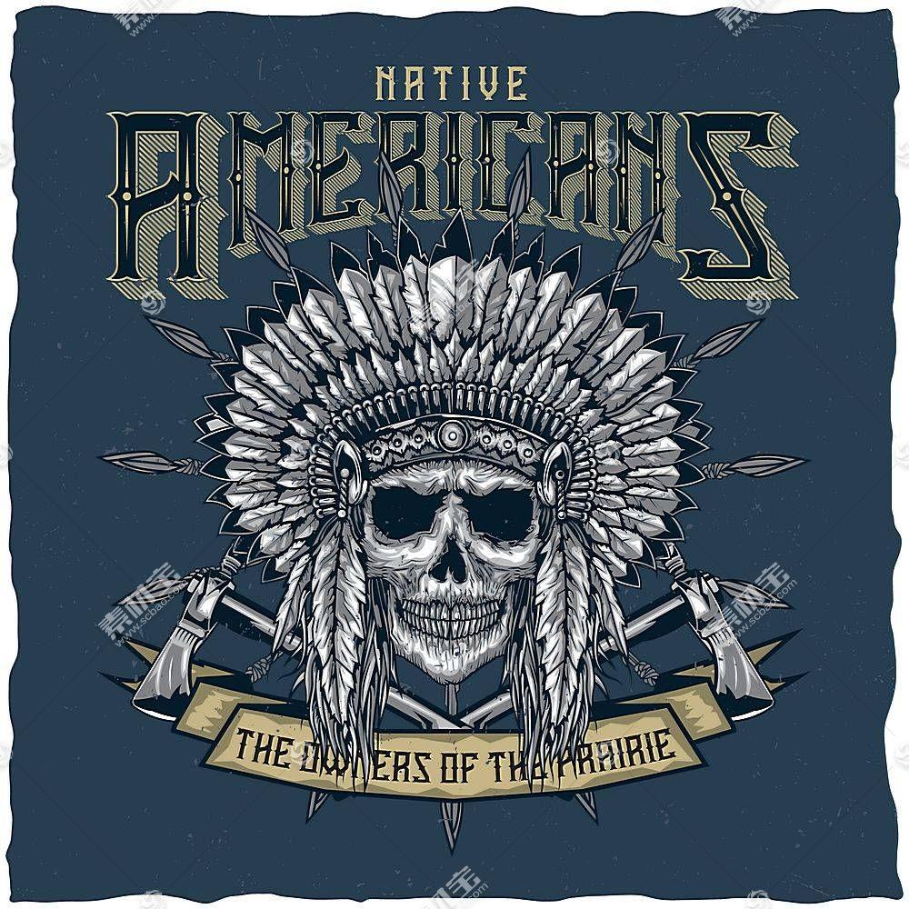 创意高清美国旧事物会徽与文本复古插画素材