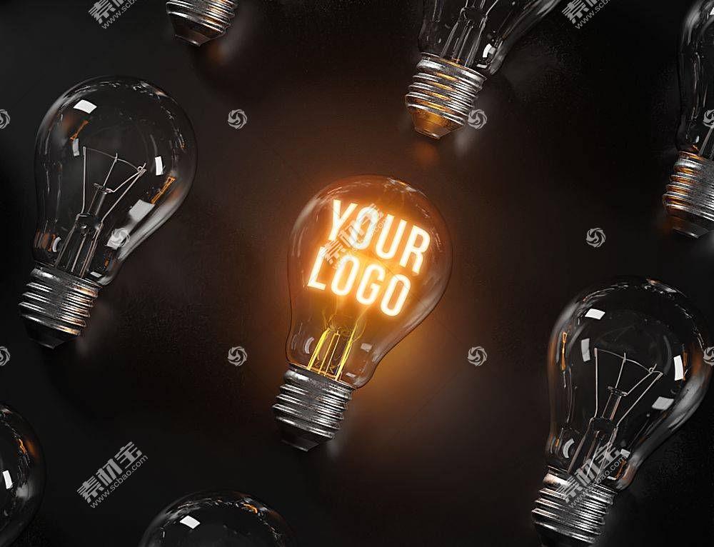 高清发光的灯泡徽标样机包背景素材