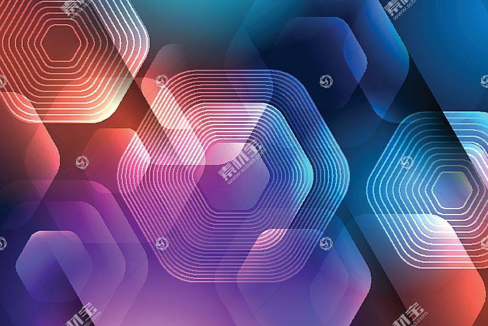 几何图形组合渐变炫彩矢量装饰背景