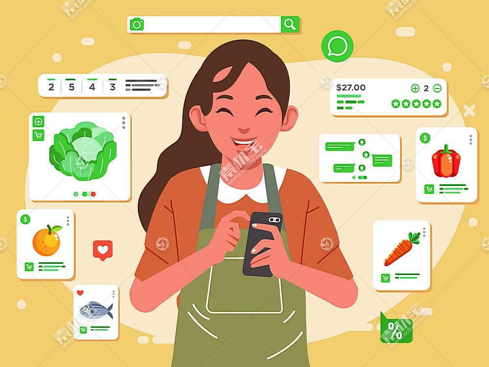 电商购物女子主题矢量插画设计