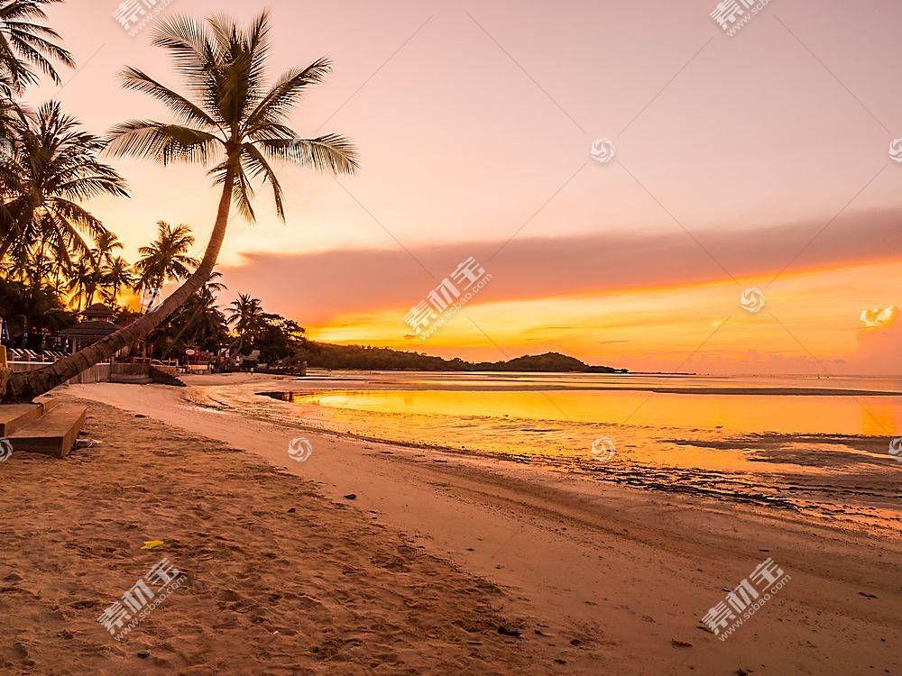 黄昏落日沙滩海边