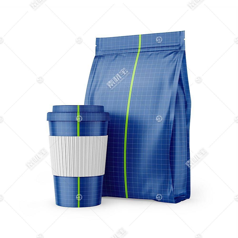 纸杯包装袋智能展示样机素材
