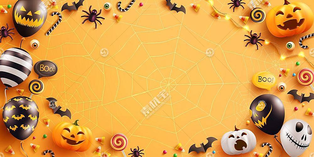 黄底圣诞节元素南瓜气球蝙蝠蜘蛛节日气氛促销海报背景