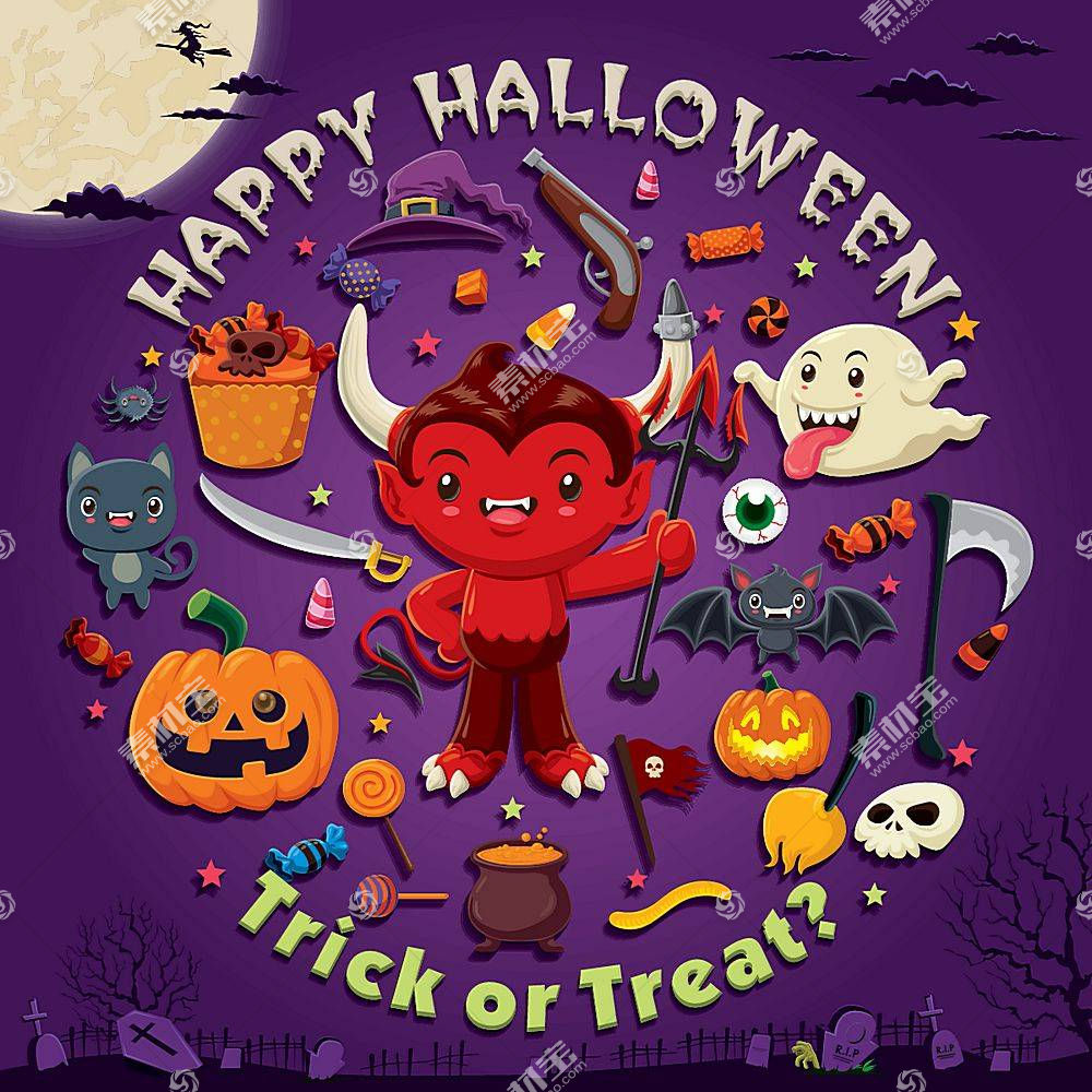 万圣节可爱的小恶魔主题装饰标签设计