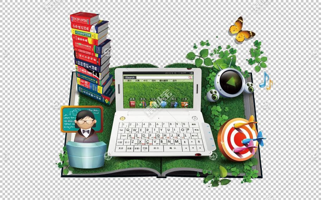 打开的书本书籍与绿色草地学习电脑