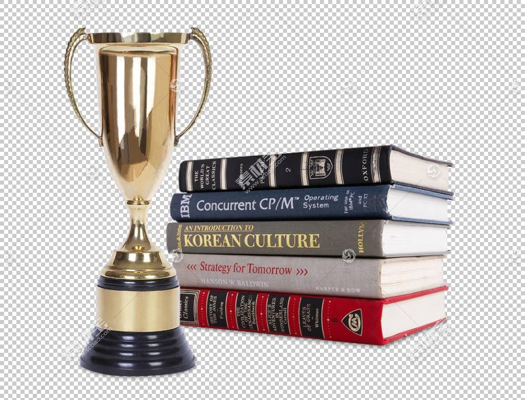 书本书籍与冠军奖杯
