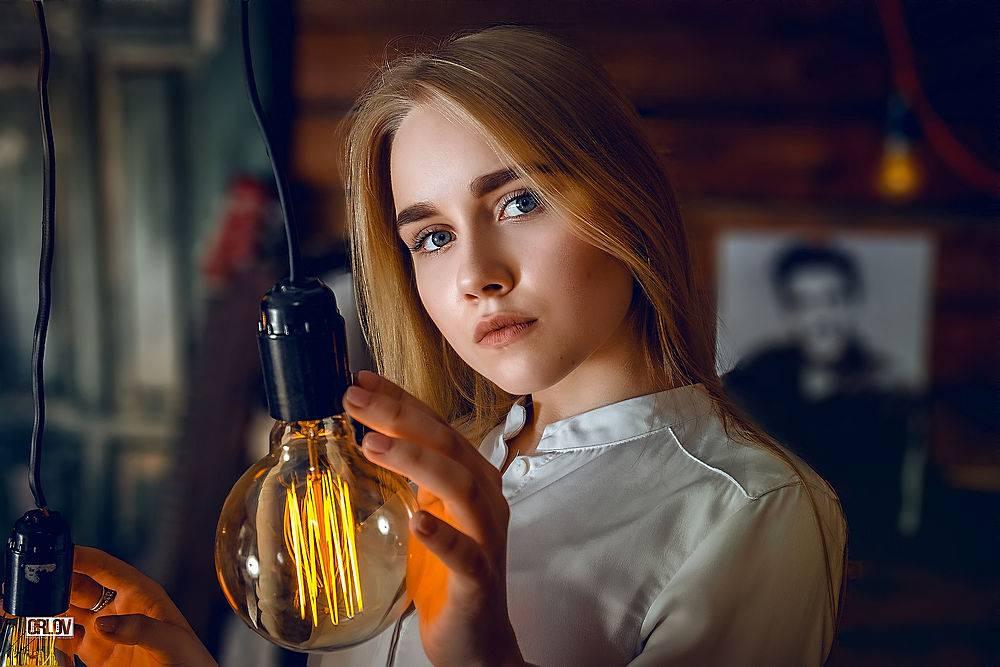 女孩,白皙的,蓝色,眼睛,深度,关于,领域,灯光,电灯泡,壁纸,