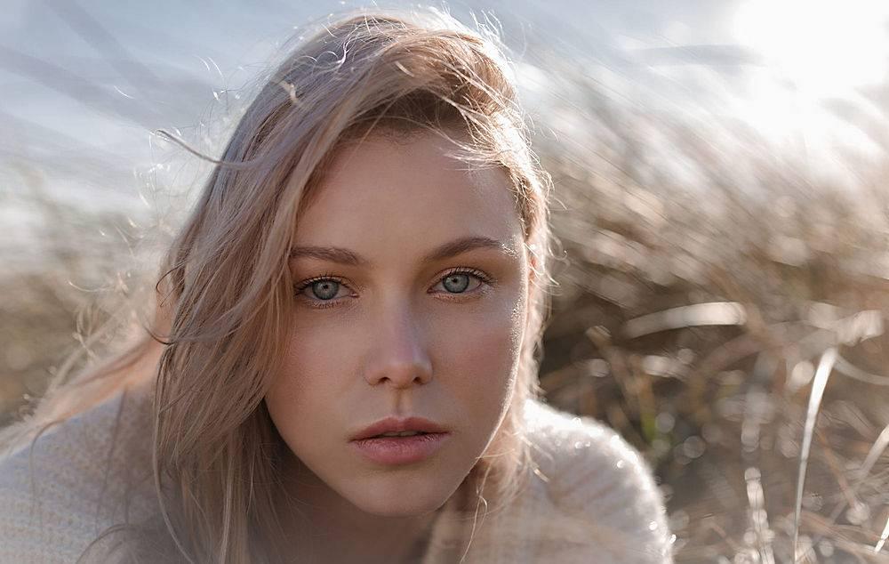 模特,女孩,白皙的,蓝色,眼睛,深度,关于,领域,壁纸,(3)