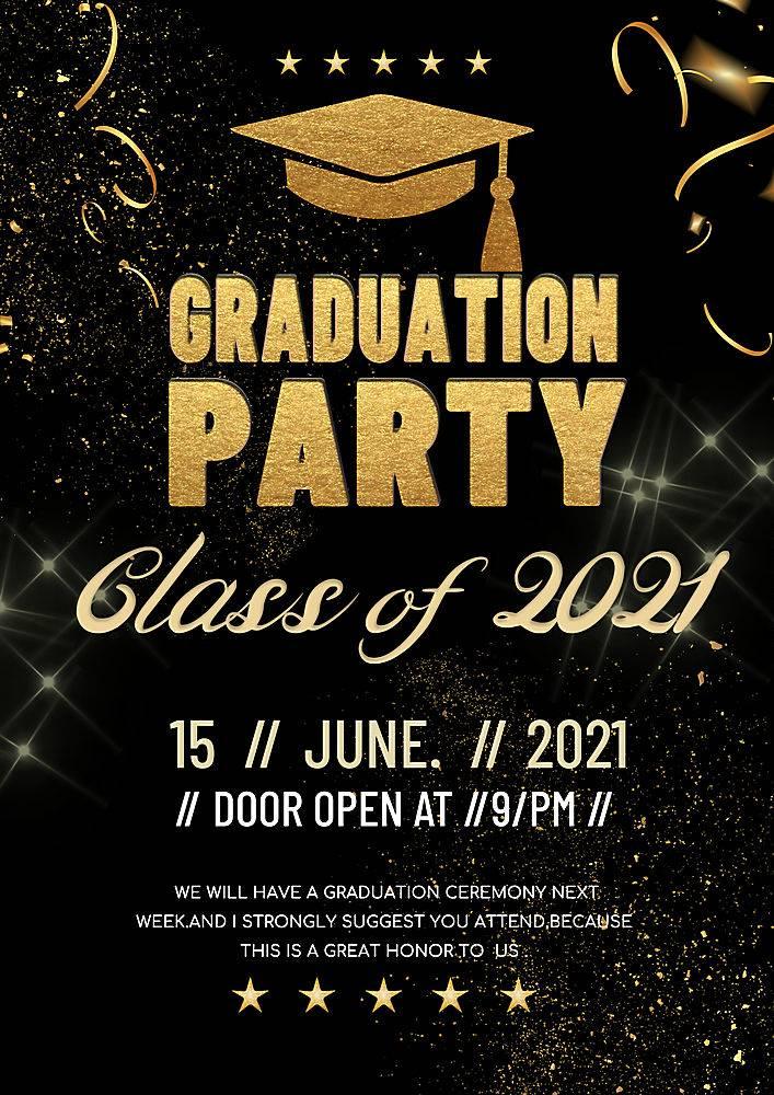 黑金大气毕业学士帽光影星星2021毕业派对海报设计