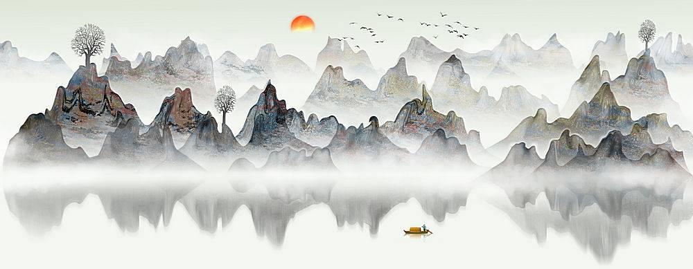 水墨中国风山水文艺背景