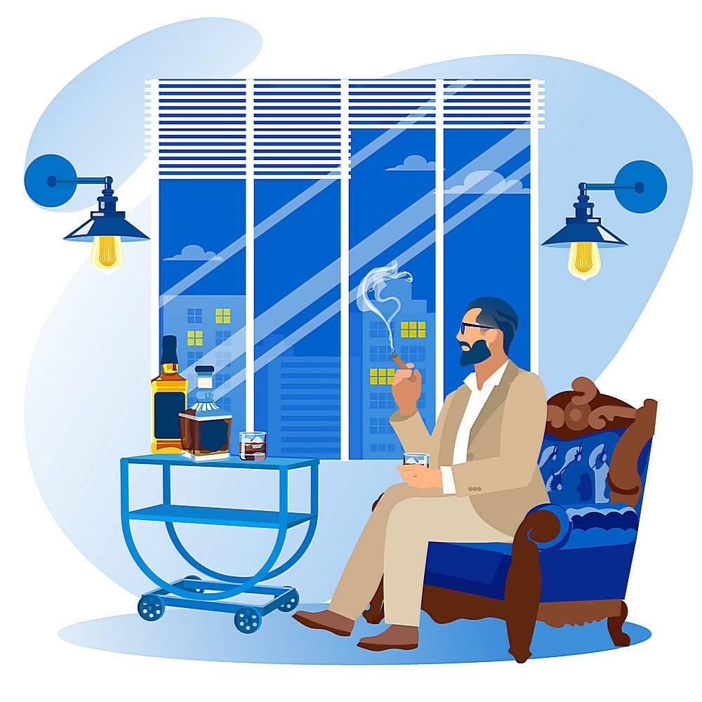 洋酒雪茄商务成功人士人物插画设计