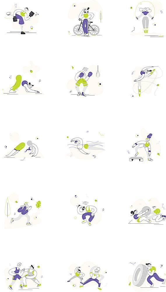 多款简洁人物运动方式人物插画设计