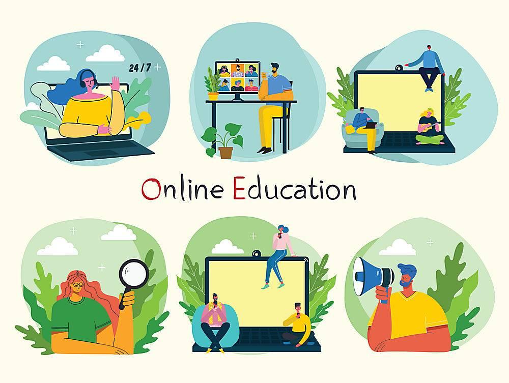 电脑互联网设计人物插画设计